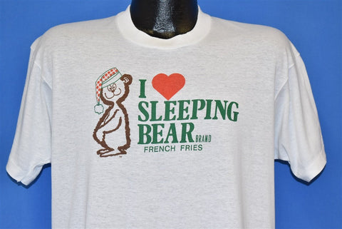 80s I Love Sleeping Bear French Fries White t-shirt Large