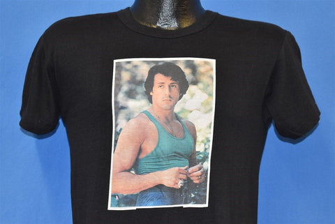 70s Sylvester Stallone Rocky Portrait Iron On Black t-shirt Small