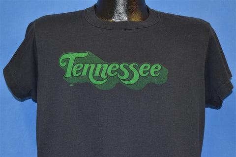 80s Tennessee TN State Cursive Logo Black Green t-shirt Large