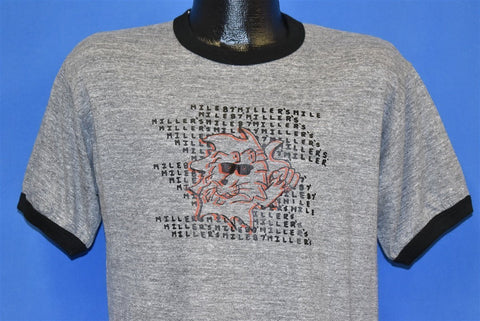 80s Miller's '87 Lion Gray Rayon Tri Blend Ringer t-shirt Medium