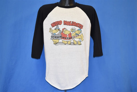 80s Hippo Holidays Christmas New Years Raglan t-shirt Large