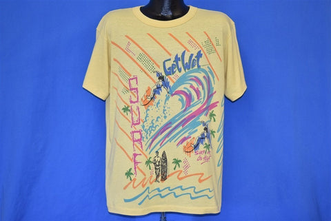 80s Surf Get Wet or Go Home Surfer t-shirt Extra Large