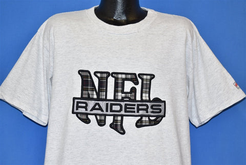 90s Oakland Los Angeles Raiders Plaid NFL t-shirt Extra Large