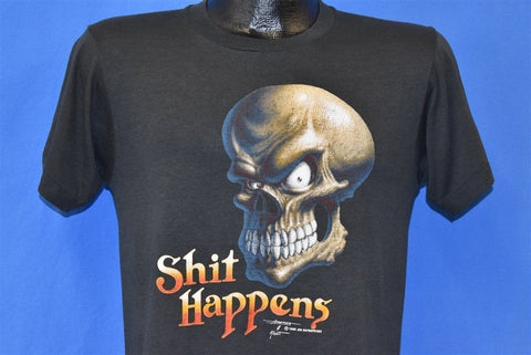 80s Shi* Happens Skeleton Skull Biker Funny t-shirt Small