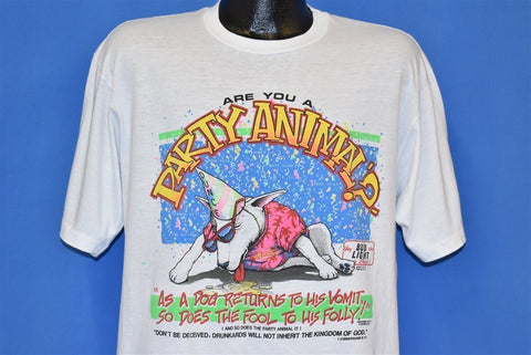 80s Spuds MacKenzie Spoof Bible Verse Drunkard t-shirt Large