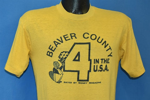 80s Beaver County PA #4 in the USA Yellow t-shirt Medium