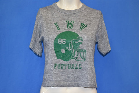 80s IWV Football '86 Tri Blend Crop Top Half t-shirt Small