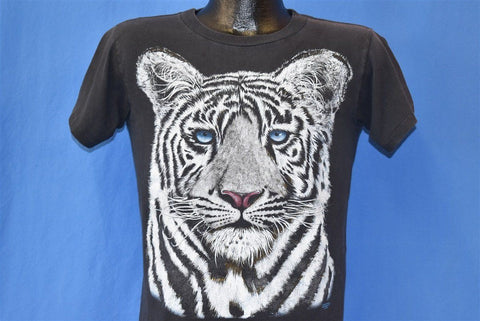 90s White Siberian Tiger Face Black t-shirt Youth Large