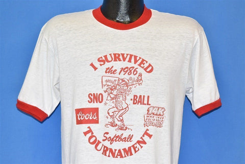 80s I Survived 1986 Sno Ball Softball t-shirt Medium
