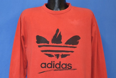 80s Adidas Trefoil Logo Red Long Sleeve t-shirt Extra Large
