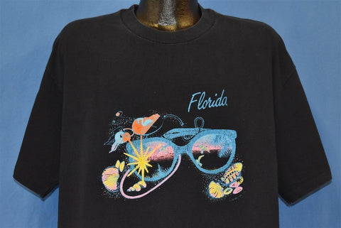 90s Florida Sunglasses Seashells Beach Blue t-shirt Extra Large