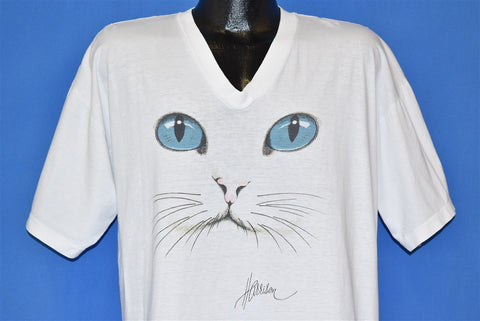 90s Cat Face Harrison V-Neck Cute t-shirt Extra Large