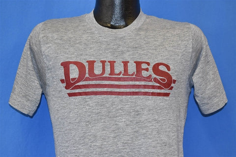 80s Dulles Logo Heathered Gray Basic Minimalist t-shirt Small