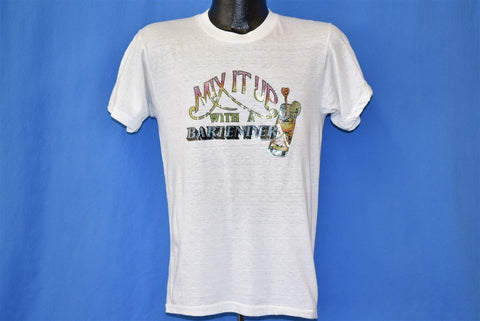 70s Mix It Up With a Bartender Glitter Iron On t-shirt Medium
