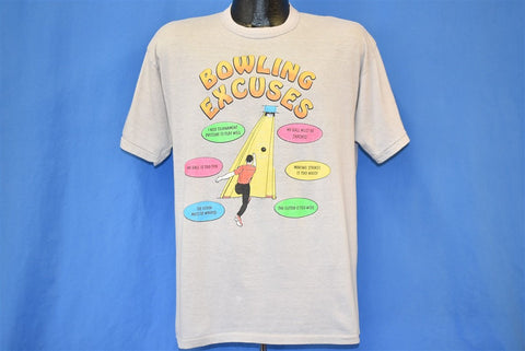 80s Bowling Excuses Funny Gutter Ball Pins Beige t-shirt Large