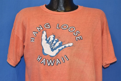 70s Hang Loose Hawaii Shaka Surf t-shirt Large