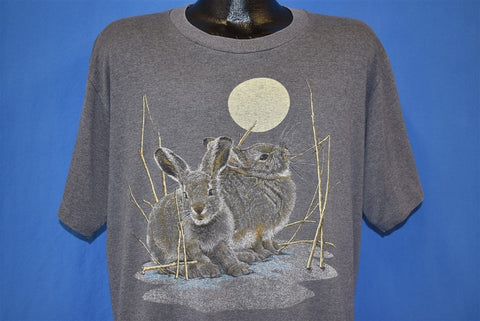 90s Bunny Rabbits Full Moon Night Gray t-shirt Extra Large