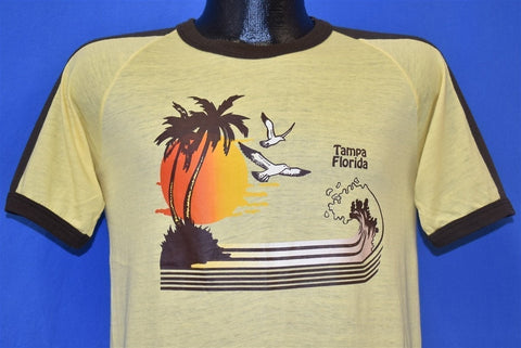 80s Tampa Florida Sunset Ocean Waves Ringer t-shirt Small