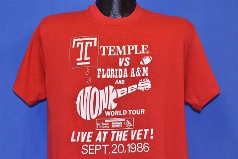80s Temple Owls Vs Florida The Monkees Tour 1986 t-shirt Large