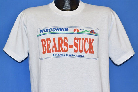 80s Wisconsin License Plate Bears Suck Funny t-shirt Large