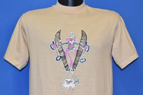 80s Pink Panther Skiing Glitter Iron On Cartoon t-shirt Medium
