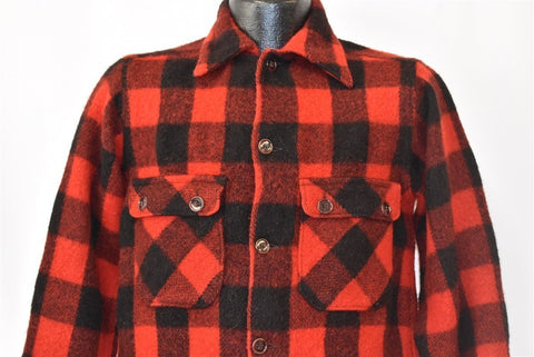 40s Buffalo Red Black Check Plaid Wool Hunting Shirt Small