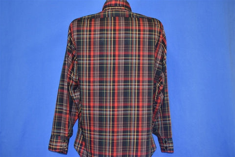 80s Levis Red Black Plaid Button Front White Tab Shirt Large