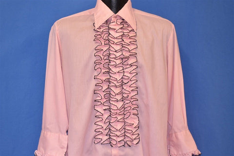 70s Tux Tuxedo Pink After Six Ruffled Shirt Medium