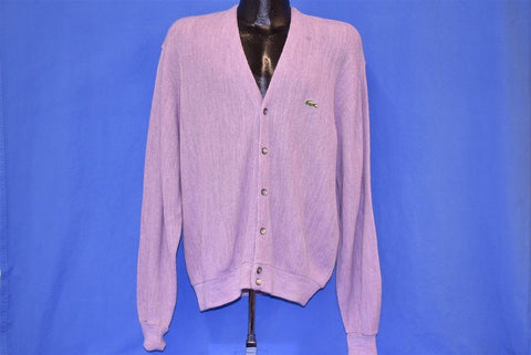 80s Izod Lacoste Heathered Purple Cardigan Sweater Large