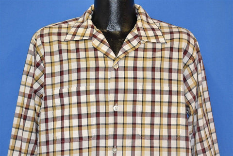 60s Plaid White Yellow Red Check Loop Collar Shirt Large
