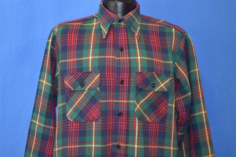 70s 5 Brother Plaid Green Yellow Heavy Flannel Shirt Medium