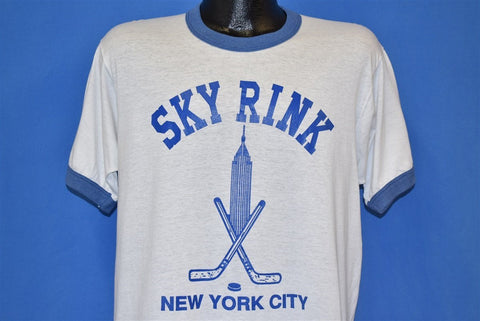 80s New York City Sky Rink Hockey NYC Ringer t-shirt