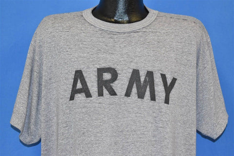 80s US Army PT Shirt Gray Soft Military t-shirt Extra Large