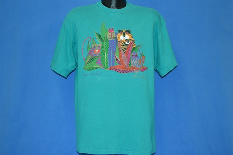 90s Laurel Burch Kittens in the forest Cats Glitter t-shirt Large