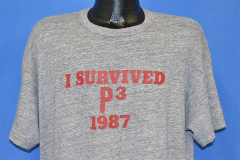 80s I Survived P3 1987 Rayon Tri Blend t-shirt Extra Large