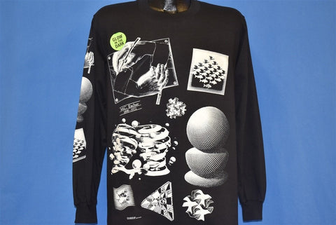 90s MC Escher Art Glow in the Dark Deadstock t-shirt Medium