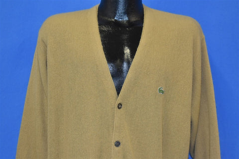 60s Izod of London Lacoste Brown Cardigan Sweater Large