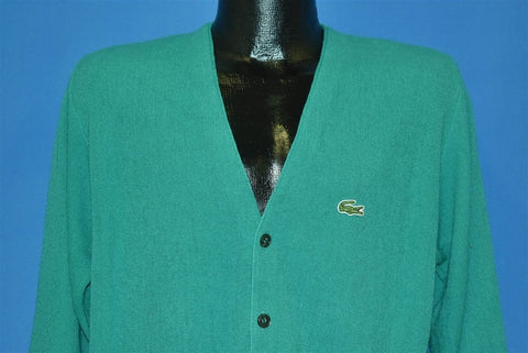80s Izod Lacoste Teal Crocodile Cardigan Sweater Medium