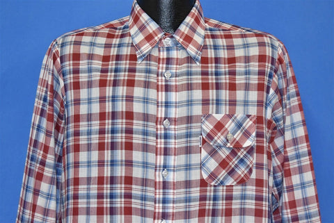 70s Levis Big E Plaid Red White Blue  Shirt Medium