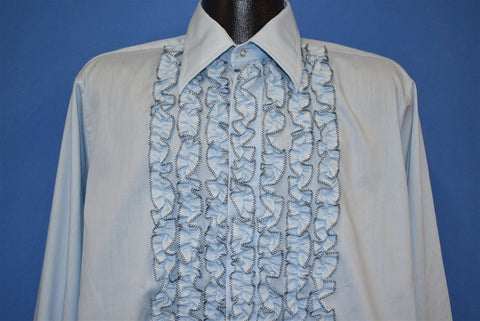70s Tuxedo Blue Ruffled Lion of Troy Dress Shirt Large