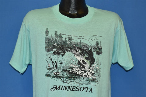 80s Minnesota Bass Fishing Fisherman Sunset t-shirt Large