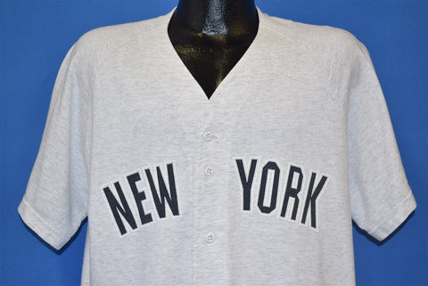 90s New York Gray Button Baseball Jersey t-shirt Extra Large