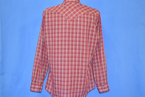 80s Levis Red Blue Plaid Western Pearl Snap Shirt Large
