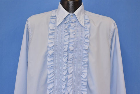 70s Tuxedo Blue Ruffled Polyester Dress Shirt Large