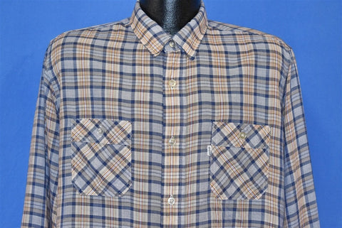 80s Levis Blue Brown White Plaid Button front Shirt Large