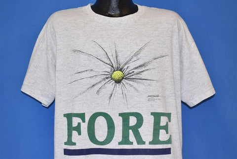 90s Fore Golf Ball Golfer Funny Gray t-shirt Extra Large
