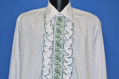 70s After Six White Green Ruffled Tuxedo Dress Shirt Large