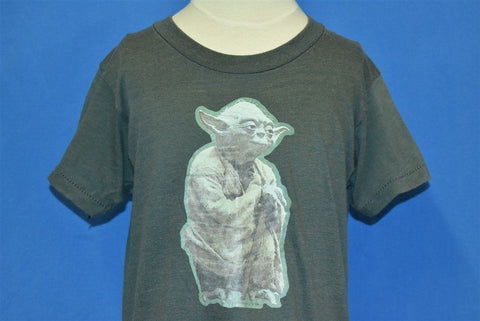 80s Star Wars Yoda Iron On Movie Faded Black t-shirt Youth Large