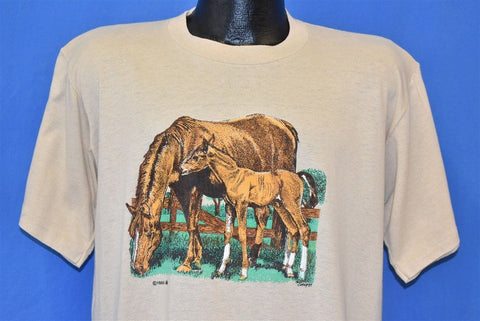 80s Horse Mother Foal Brown Animal t-shirt Large