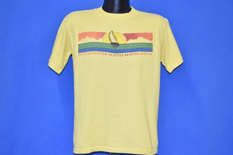 80s Seattle Sailboat Sunset Mountains Rainbow t-shirt Large
